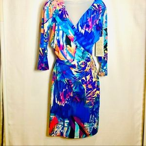 Boston Proper Colorful Jungle Affair Wrap Dress 8